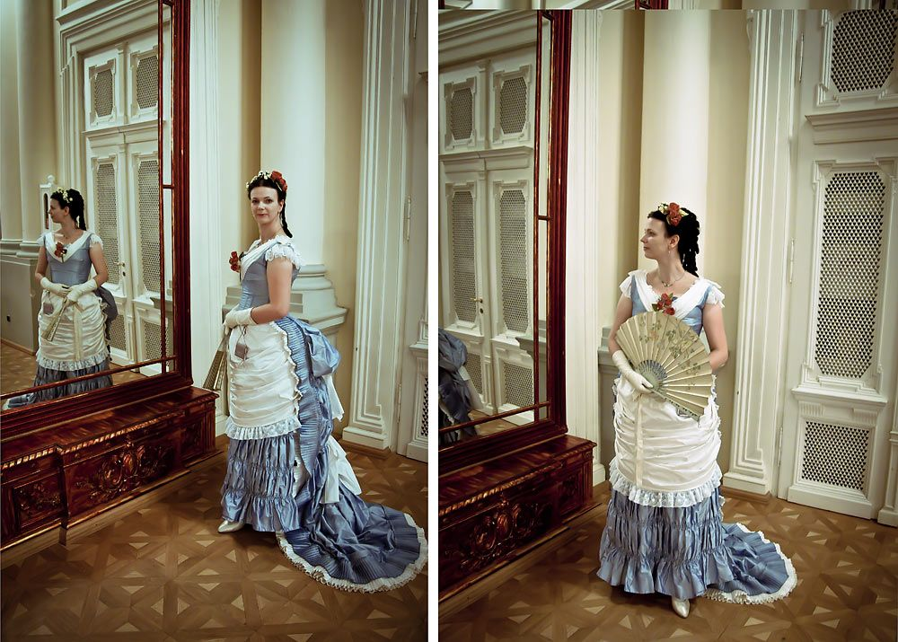 my reproduction of a victorian ball dress 1880, white and blue silk