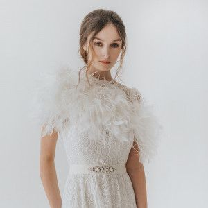 c12012064532 Ivory ostrich feather bridal bolero in 2019 | bridal cover ups ...