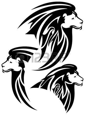 Tete de lion t te de lion dessin vectoriel style tribal noir et blanc tatouage en 2019 lion - Tete de lion dessin facile ...