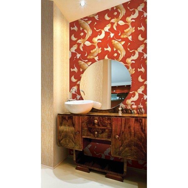 Seabrook Wallpaper AI40601 - Koi - Koi fish design wallcovering in a