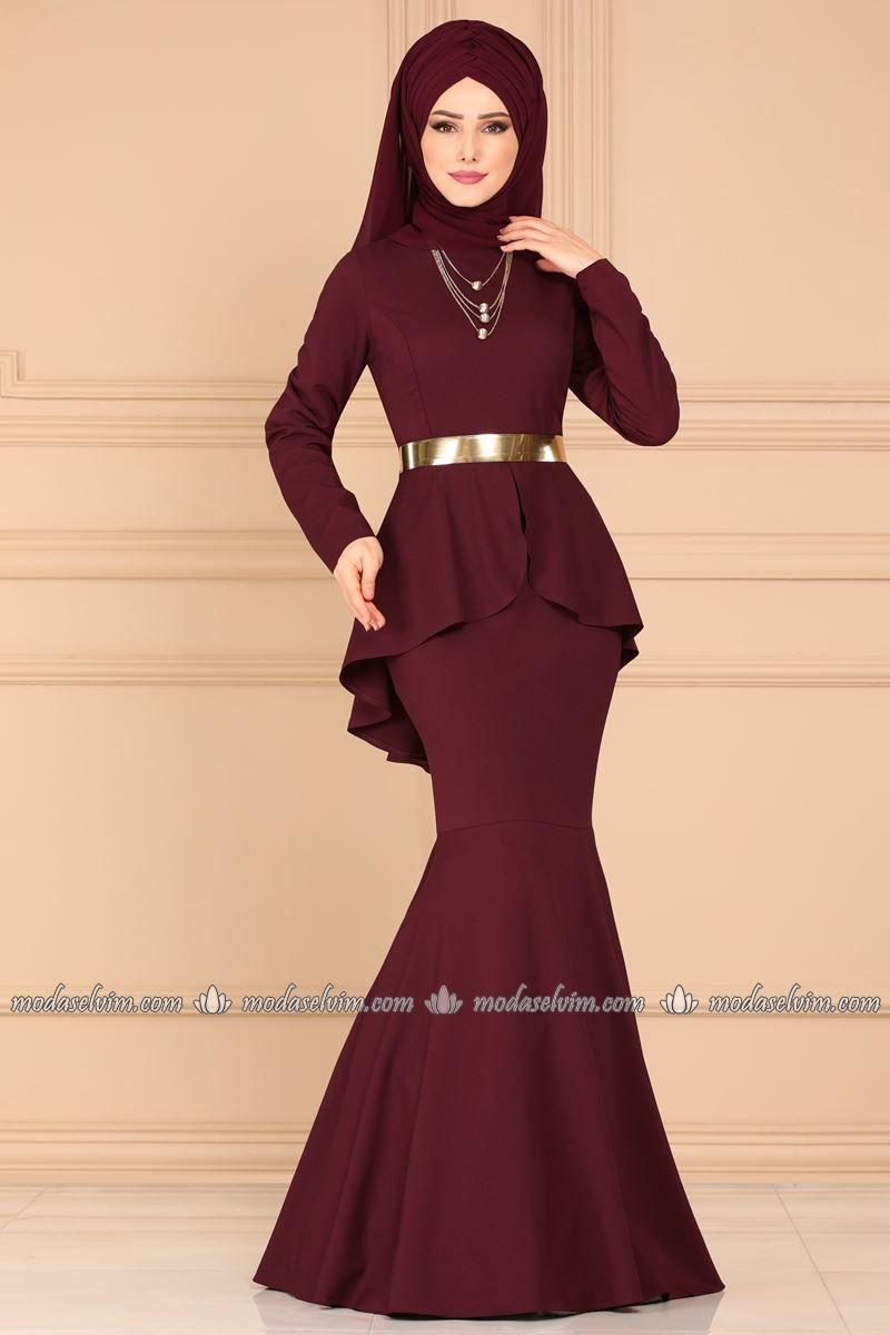 Modaselvim Gold Kemerli Balik Abiye 4920ay342 Bordo The Dress Moda Stilleri Elbise