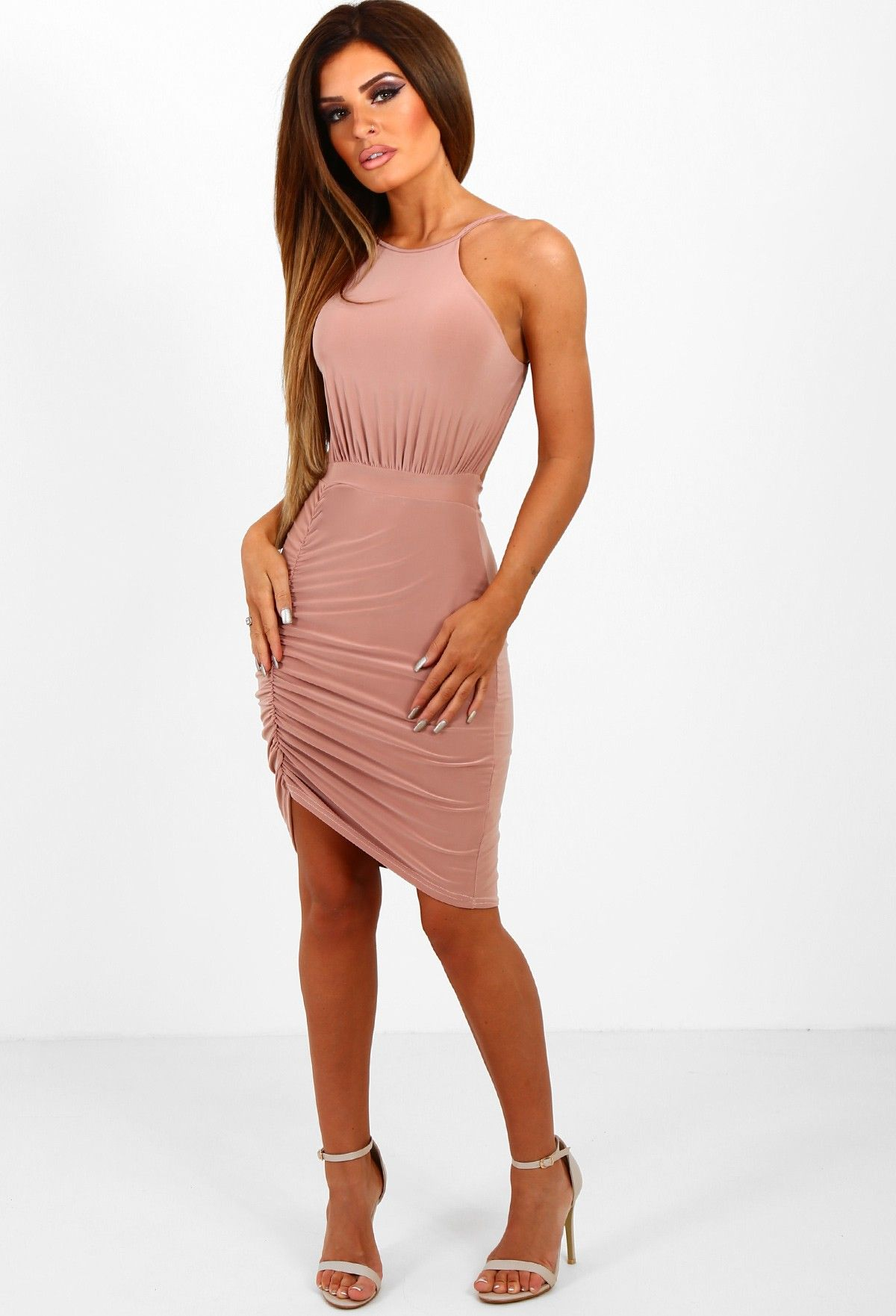Flirt alert fuchsia pink bardot mesh side mini dress pink mesh