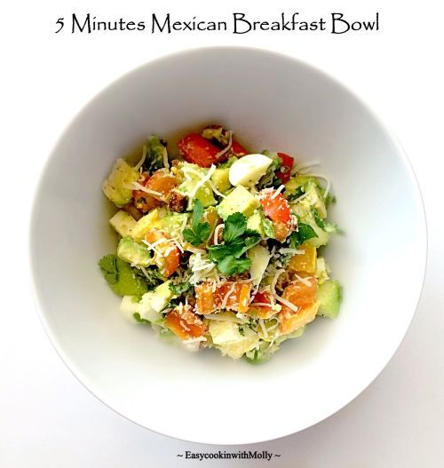 5 minutes Mexican Breakfast Bowl ~ Versatile breakfast bowl that's packed with essential nutrients and flavors. Can also be used as stuffing in wraps & sandwiches. #glutenfree #cincodemayo #recipes #breakfast