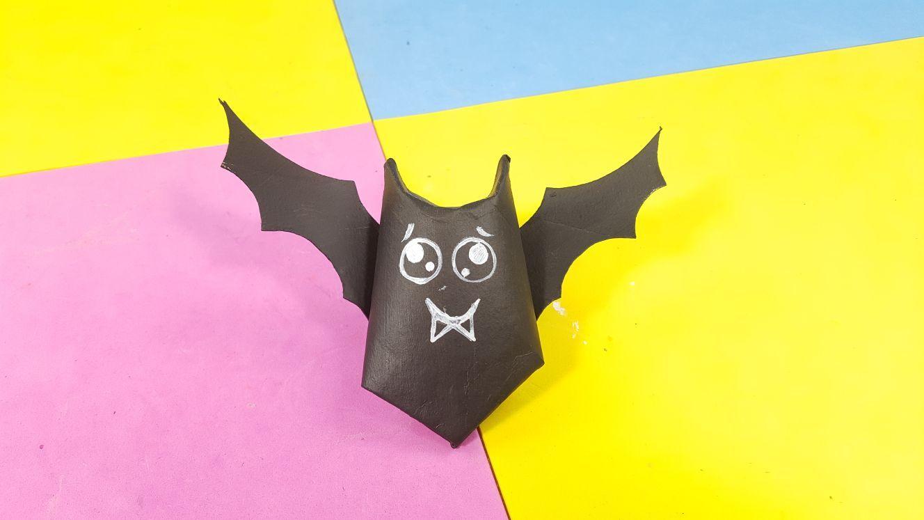 Murciélago Para Guardar Caramelos Con Tubo De Papel Higiénico Manualidades Halloween Manualidades Tubo De Papel Higiénico