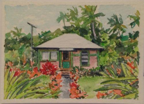 Vosberg Collectable Aceo Original Watercolor Island House Hana Maui Hawaii