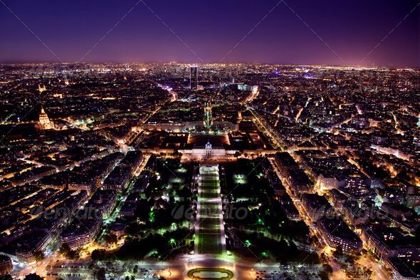 Paris panorama France at night by photocreo Paris panorama France at night View on Field of Mars and Montparnasse Tower from Eiffel Tower