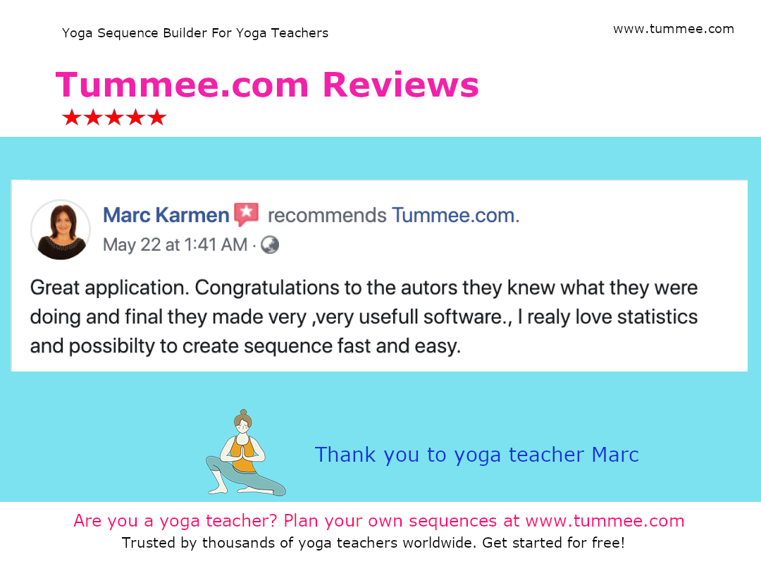 Thank You To Yoga Teacher Marc For Her Review Thanks Again Tummee Com Team Visit Https Www Tummee Com For 250 Yoga Sequences Yoga Teachers Teaching Yoga