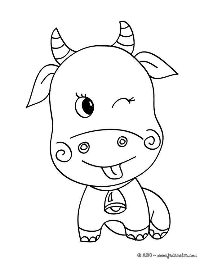 Dessin d une petite vache qui fais un clin d 39 oeil et tire - Oeil a colorier ...