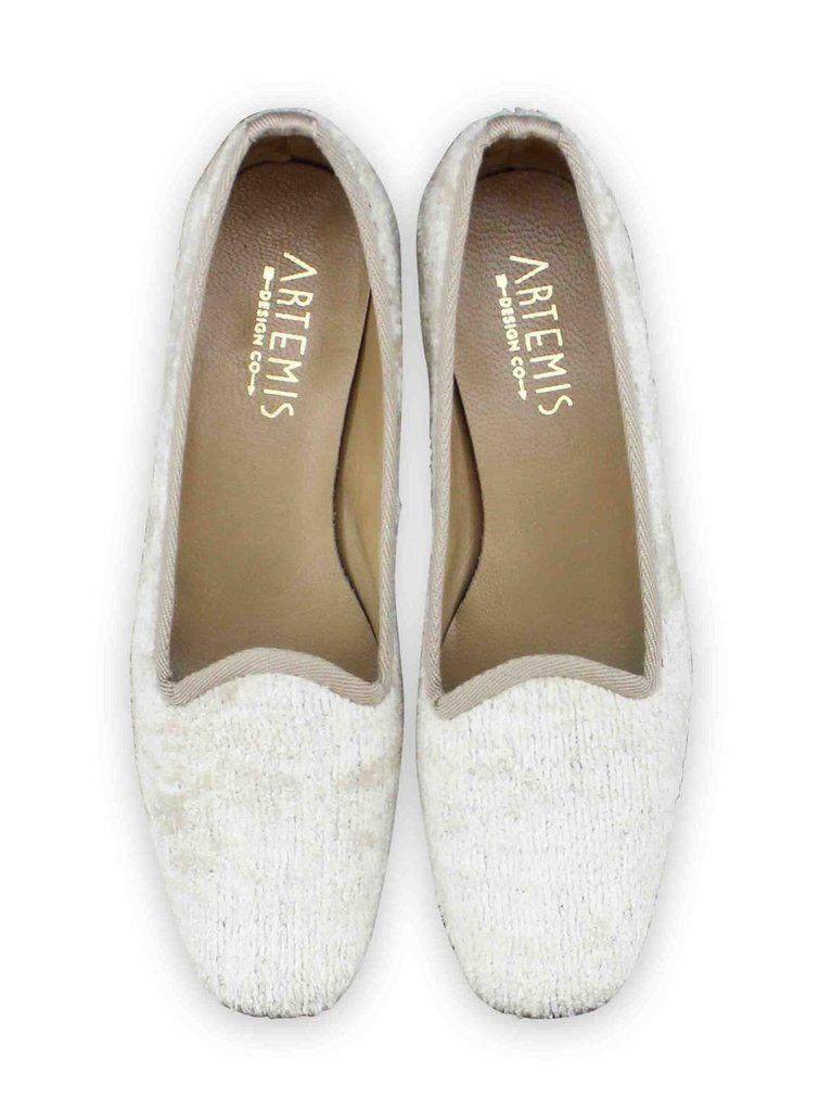 7160522172712 Women's Velvet Loafer - Pearl White in 2019 | Silk & Velvet Loafers ...