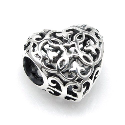 Queenberry Sterling Silver Ethnic Filigree Flower Cubic Zirconia European Style Bead Charm tT9aNmrNyy