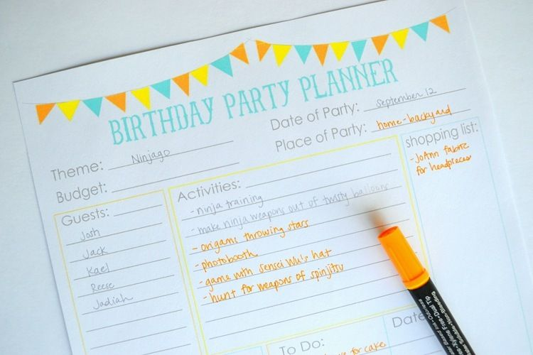 Free Printable Birthday List ~ Free printable party planner checklists party planners