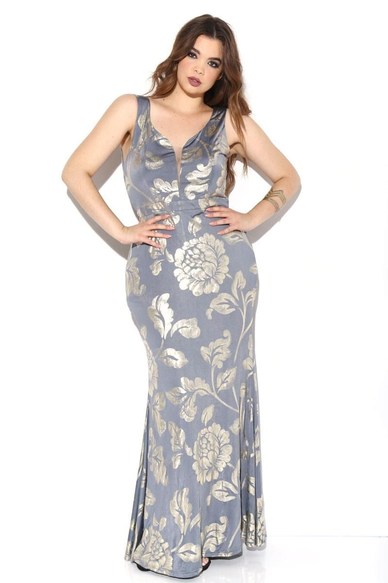 a4889a13811d Quiz Cream Blue And Pink Floral Print Bardot Bodycon Dress