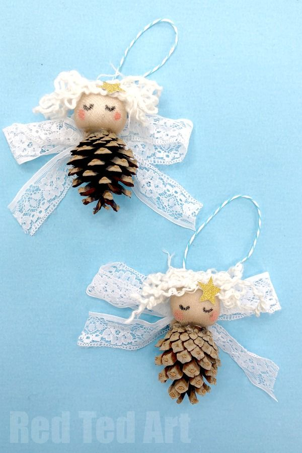Pine Cone Angel Ornament DIY - Red Ted Art