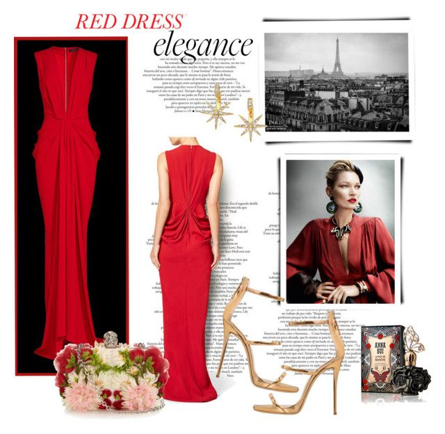 """""""*Red Dress * - Group Contest - Set #2"""" by sassy-elisa ❤ liked on Polyvore featuring Thakoon, Giuseppe Zanotti, Alexander McQueen, Elizabeth and James, Anna Sui and reddress"""