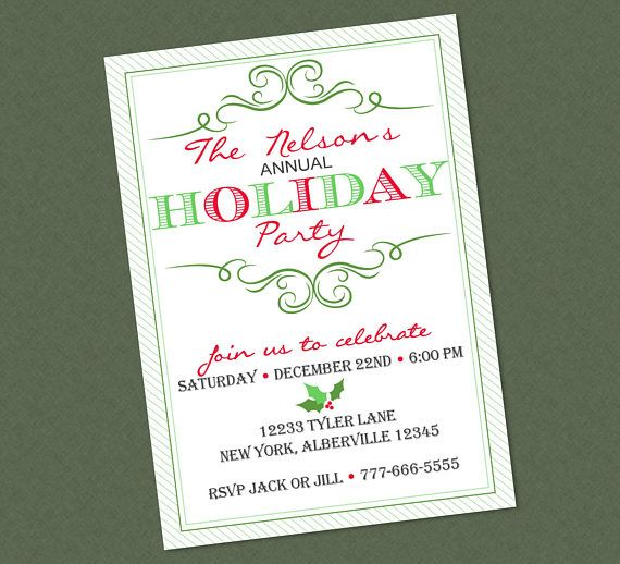 Elegant annual holiday party invitation christmas holly office elegant annual holiday party invitation christmas holly office party dinner party red green stopboris Image collections