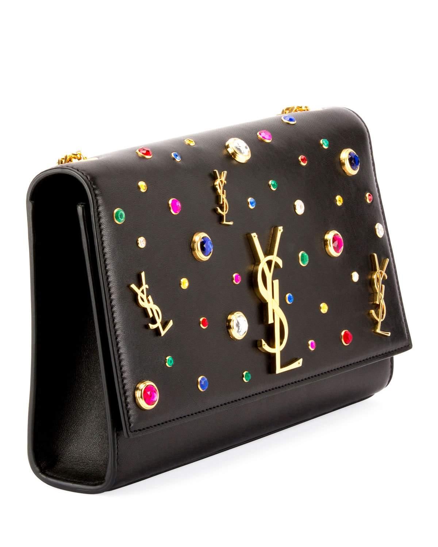 dc64dcdd0de Saint Laurent Kate Monogram YSL Medium Jewel-Stud Chain Shoulder Bag ...