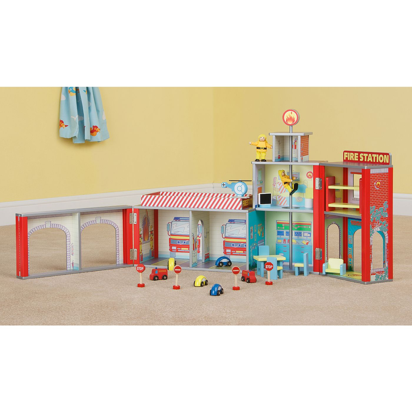 Plum Ingham Fire Station Wooden Play Set - Action -