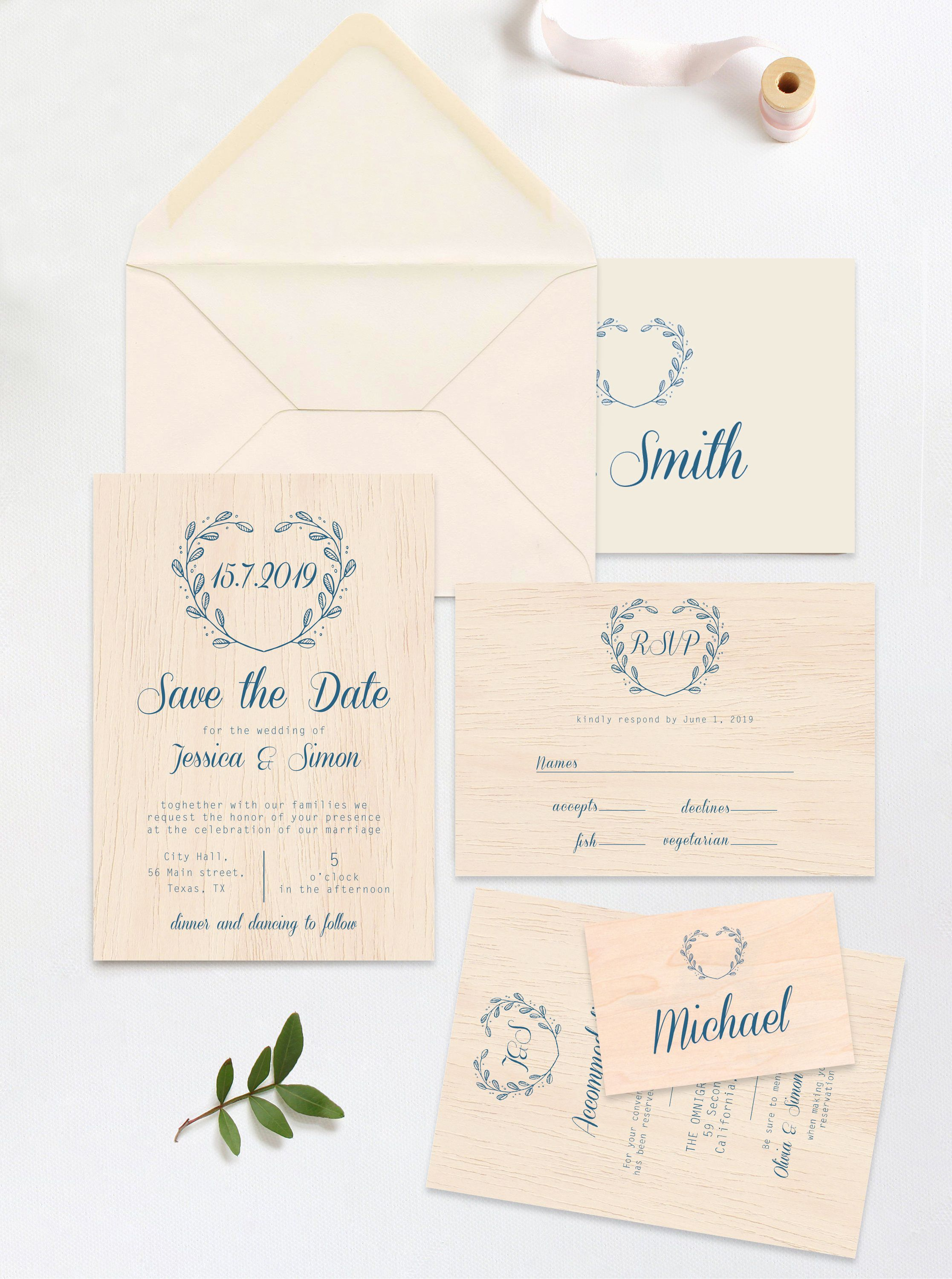 Save The Date Template Printed On Real Thin Wood Wedding Etsy Wedding Invitation Size Wedding Invitations Rsvp Cards Invitation Card Format