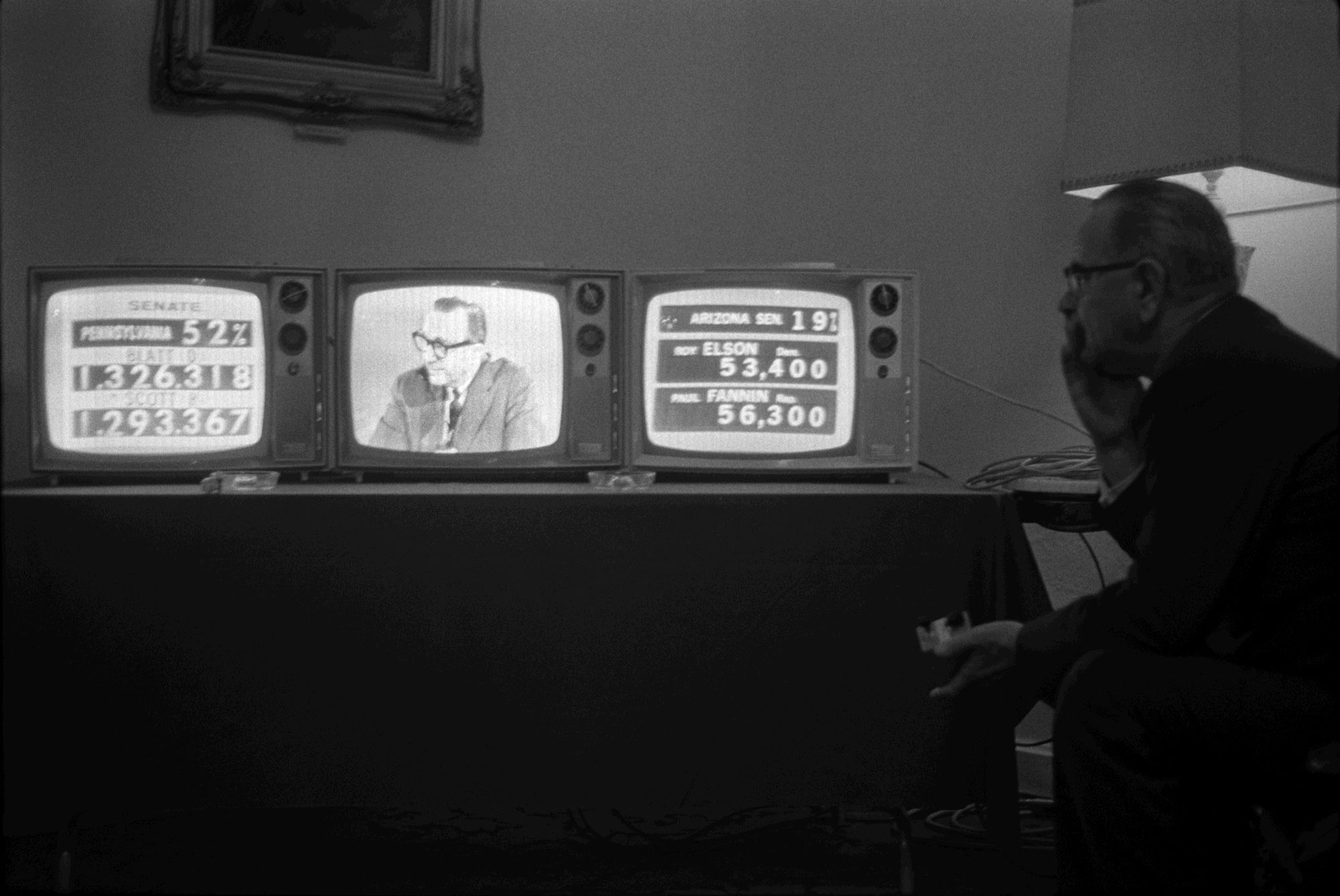 President Lyndon Bjohnson Watches Television Sets As Elections Interesting Living Room Candidate Design Decoration