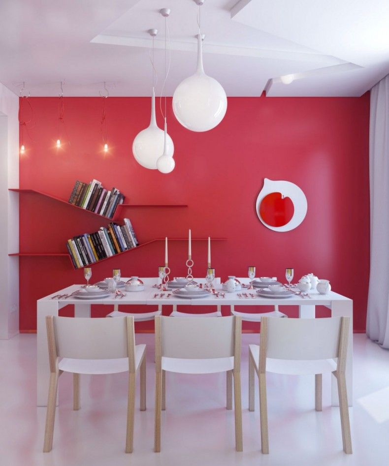 Amazing Red Dining Room Color Ideas Beautiful Ultramodern Light Fixtures In White