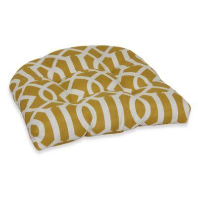 Decorative U Shaped Chair Cushion In Yellow Trellis   BedBathandBeyond.com  $15