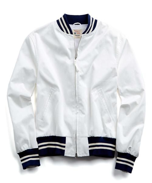 da6afa5a51efb Cotton Bomber Jacket in White/Navy by Todd Snyder + Champion | My ...