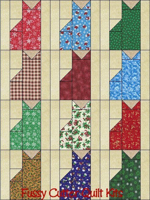 Christmas Holiday Kitty Cats Grab Bag Fabric Fast Easy Beginner ... : pre cut quilt patterns - Adamdwight.com