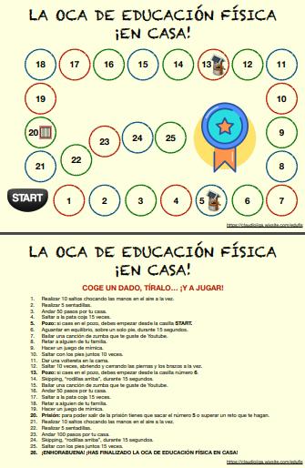 La Oca De La Educación Física En Casa Trabajo Educacion Fisica Ejercicios De Educacion Fisica Educacion Fisica En Primaria