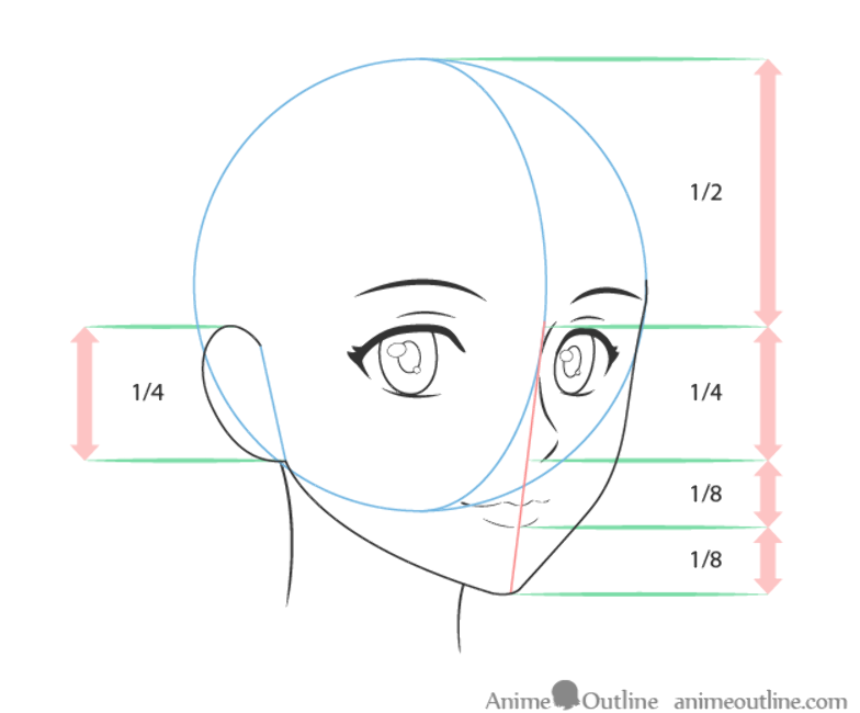 Anime Female Face Drawing Proportions 3 4 View Drawing Proportions Anime Face Drawing Female Face Drawing