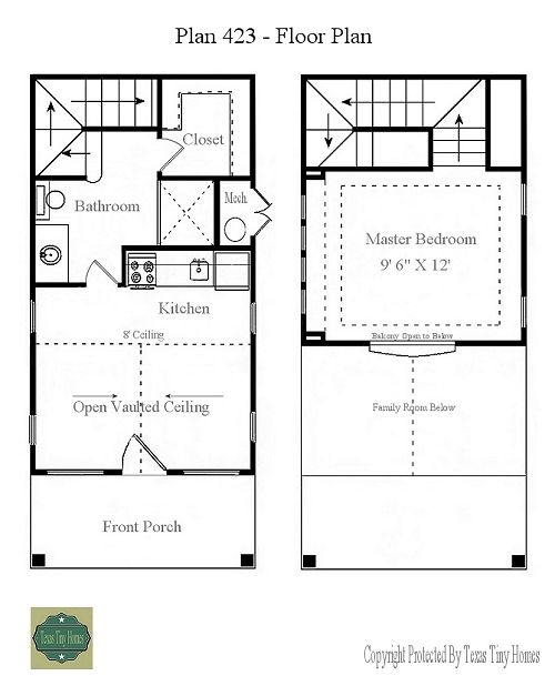 Another texas tiny home 423 floor plan presentation x 500 for Small house design 2nd floor