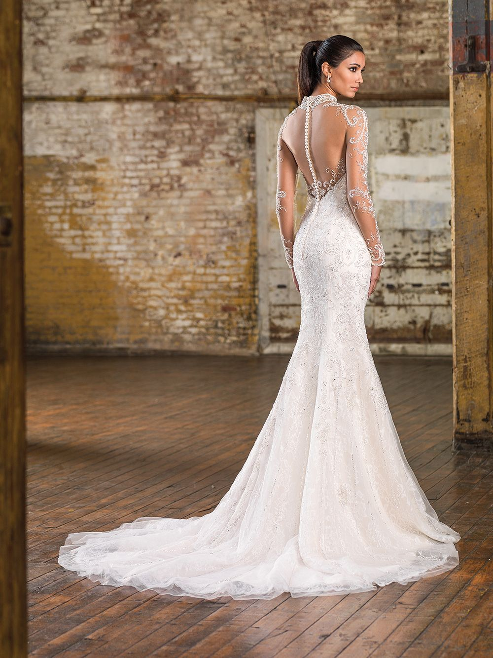 Lace fit and flare wedding dress with sleeves  Beaded illusion tulle Mandarin neckline illusion back neckline and
