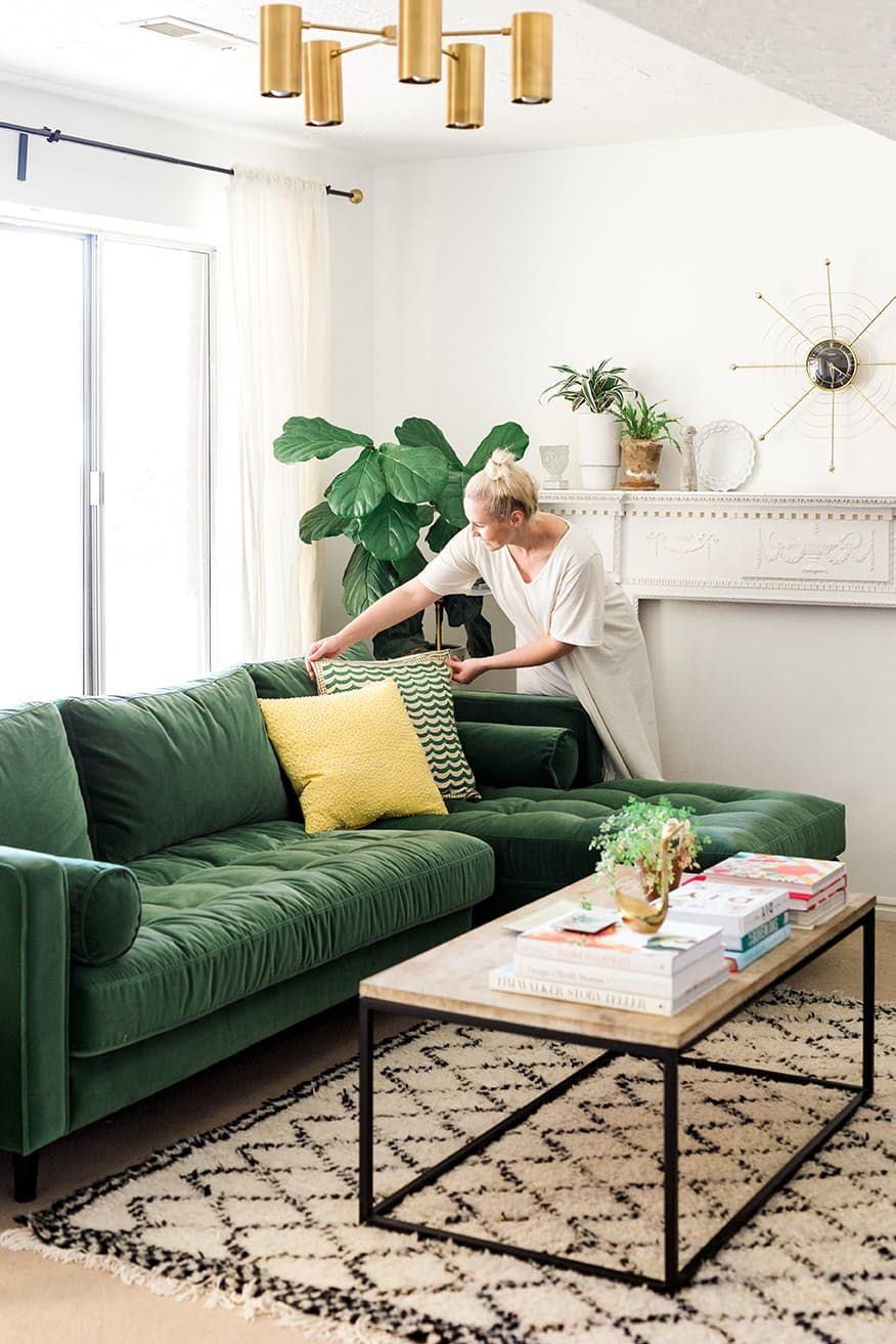 green sofa living room ideas wall color for with brown style prediction this is the new navy you re going to love so inviting and cozy could change pillows easily spring summer fall winter