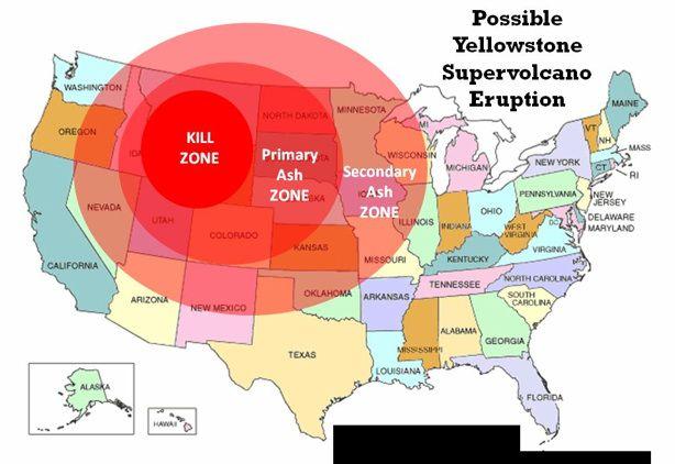 yellowstone volcano on map Prediction 2 3 Of U S Could Be Devastated Yellowstone Volcano yellowstone volcano on map