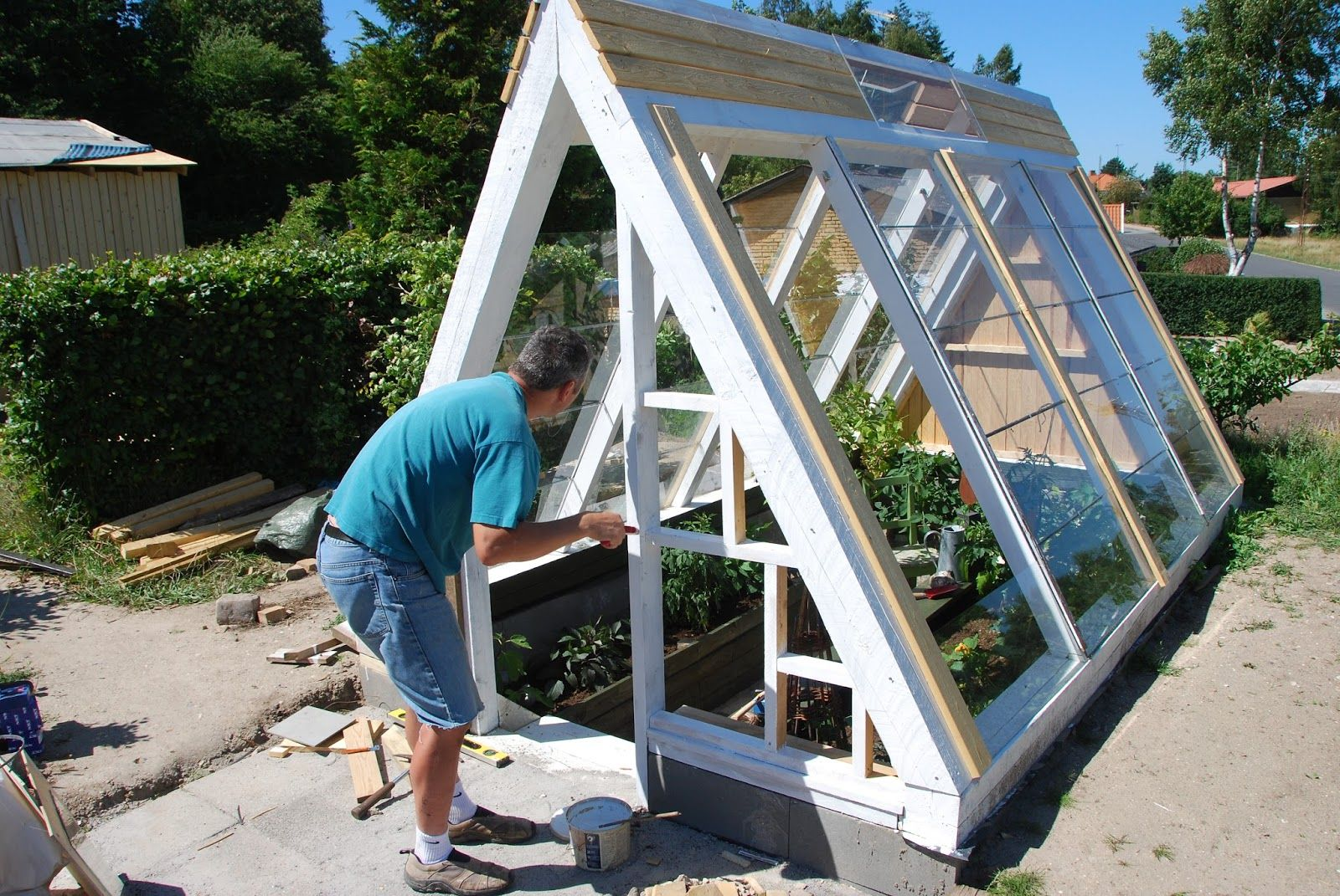 A frame greenhouse | Greenhouse, Garden structures, Chickens backyard