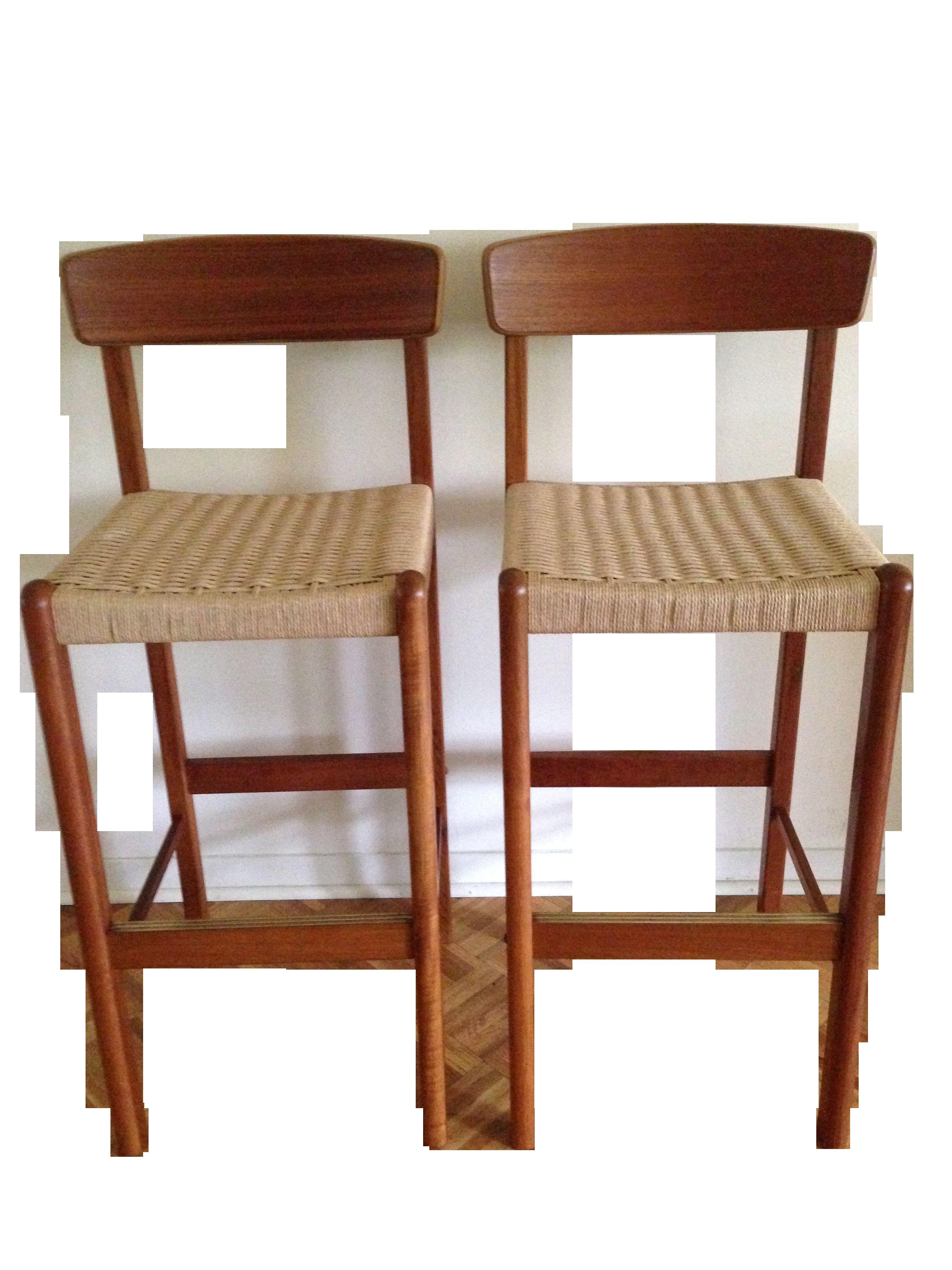 teak bar stools moller style a pair on chairish com stools