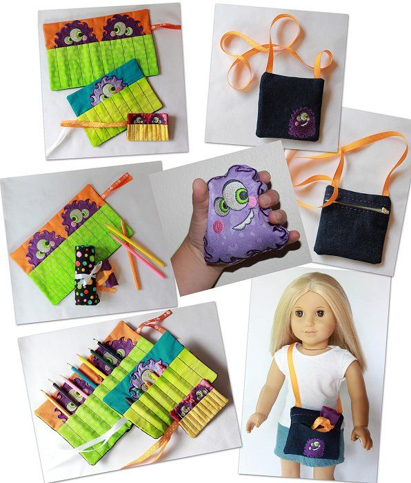 Doll purse and crayon roll done in the hoop of