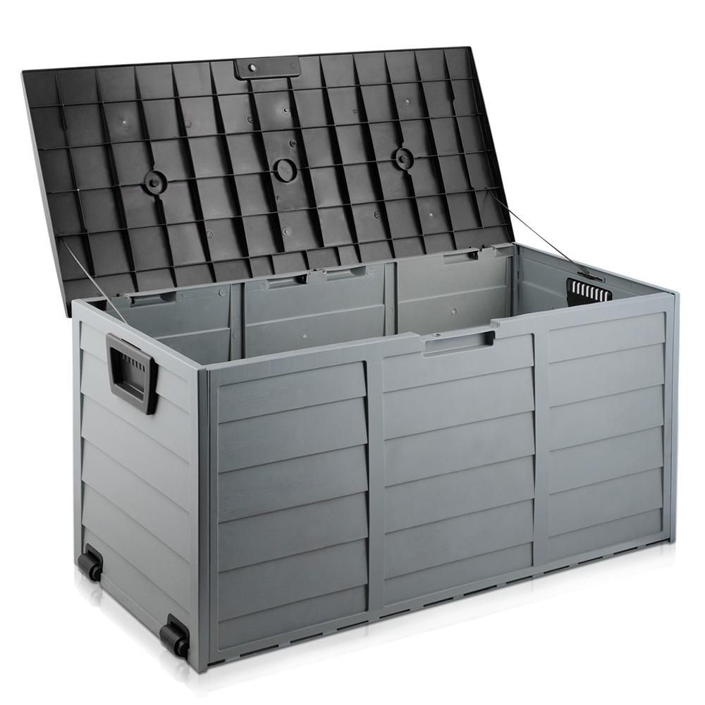 290l Plastic Outdoor Storage Box Container Weatherproof Black Osb 290l Bk Shippedfrom Plastic Outdoor Storage Box Outdoor Storage Box Plastic Outdoor Storage