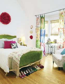 Bohemian bedroom... love the curtains