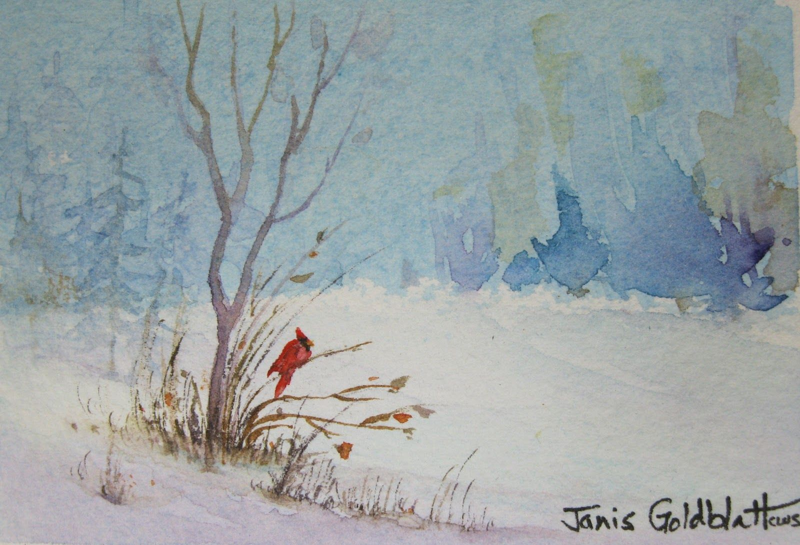Watercolor landscapes for beginners winter scene with for Watercolor scenes beginners