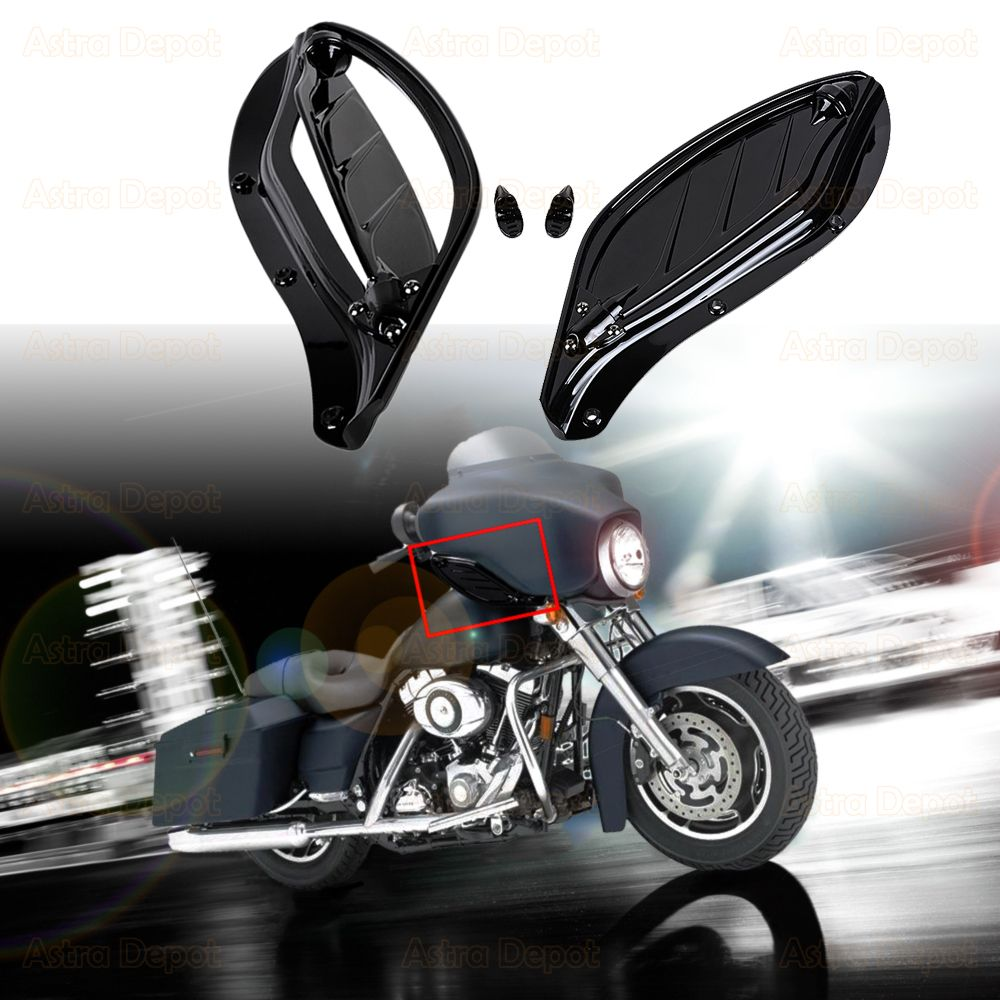 1 Pair Glossy Black Windshield Air Deflector Kit For