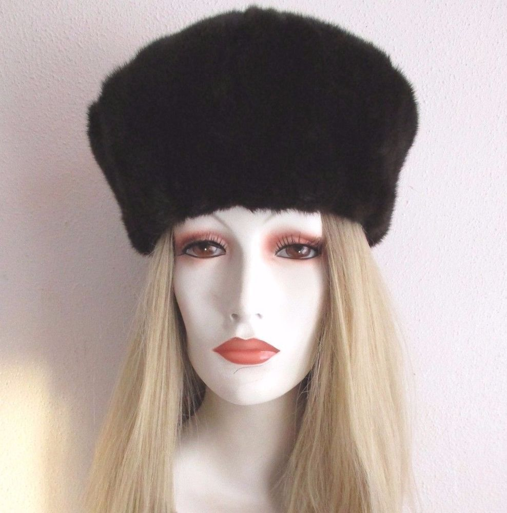 c2d95421 RUSSIAN MINK FUR HAT Dark Brown NEW NWT Wear with Coat Jacket Stole Black  Vntg #Russian #Beret #Outdoor