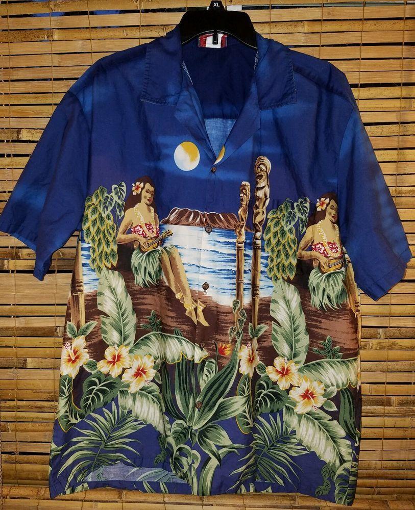 758102535 Hula Girl Mens Hawaiian Shirt XLarge Ukelele Grass Skirt Winnie Fashions  Cotton #WinnieFashions #Hawaiian