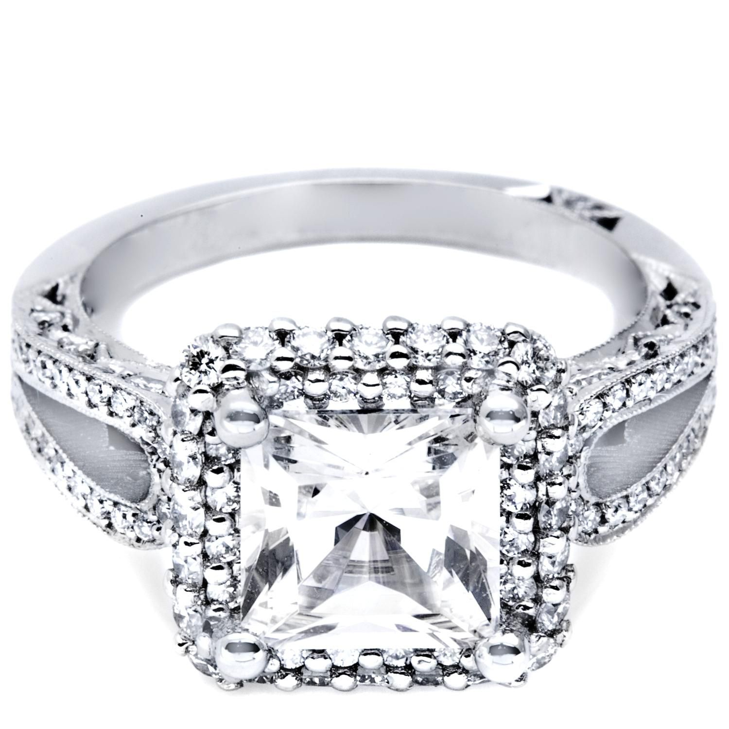 Princess cut engagement rings with diamond band engagement