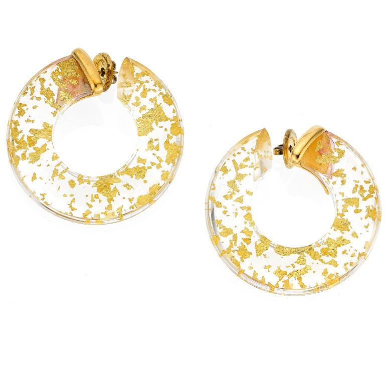 Passadiuti Gold Flake and Lucite Hoop Earrings Discount Luxury