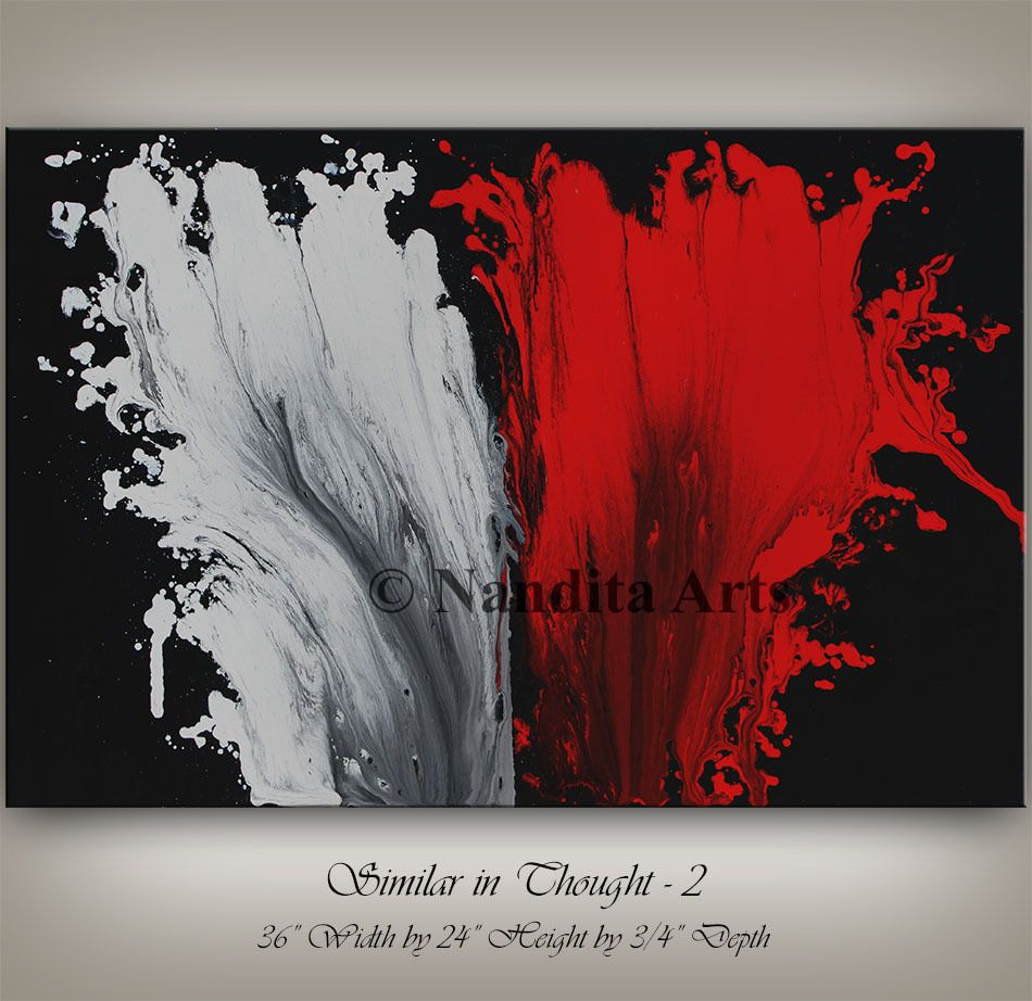 Red and black abstract painting modern wall art original large