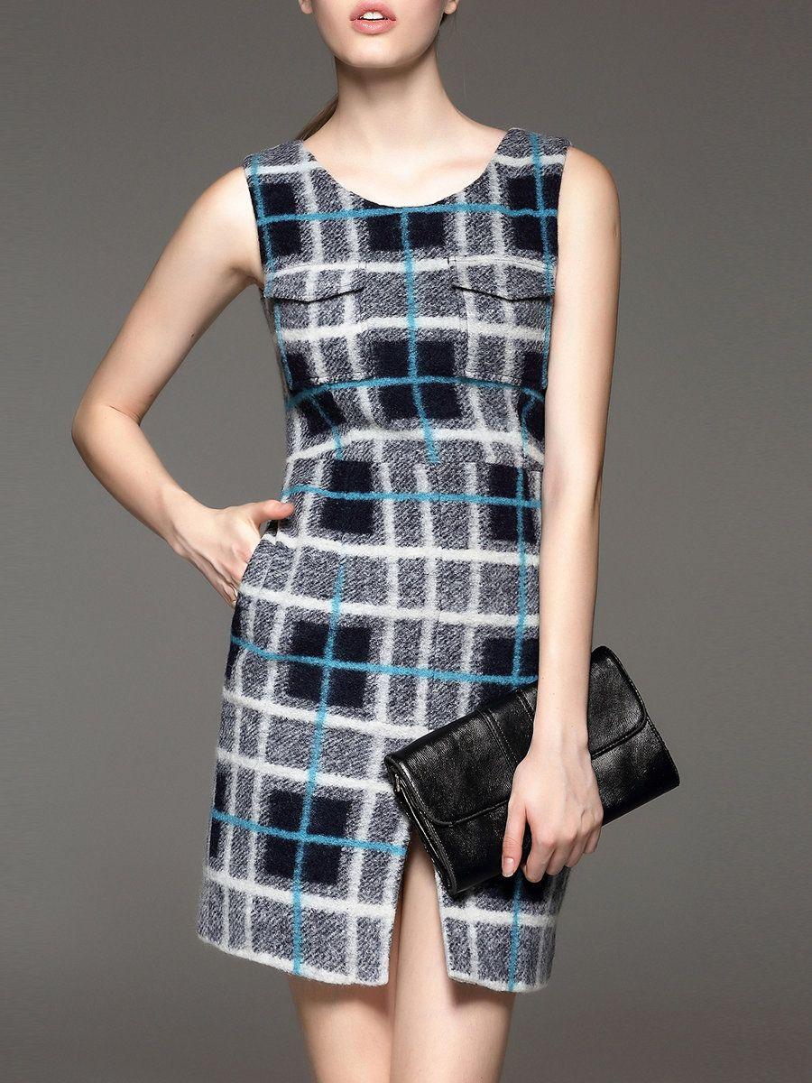 #AdoreWe fantiow Multicolor Checkered/Plaid Sleeveless Wool Blend Slit Mini Dress - AdoreWe.com