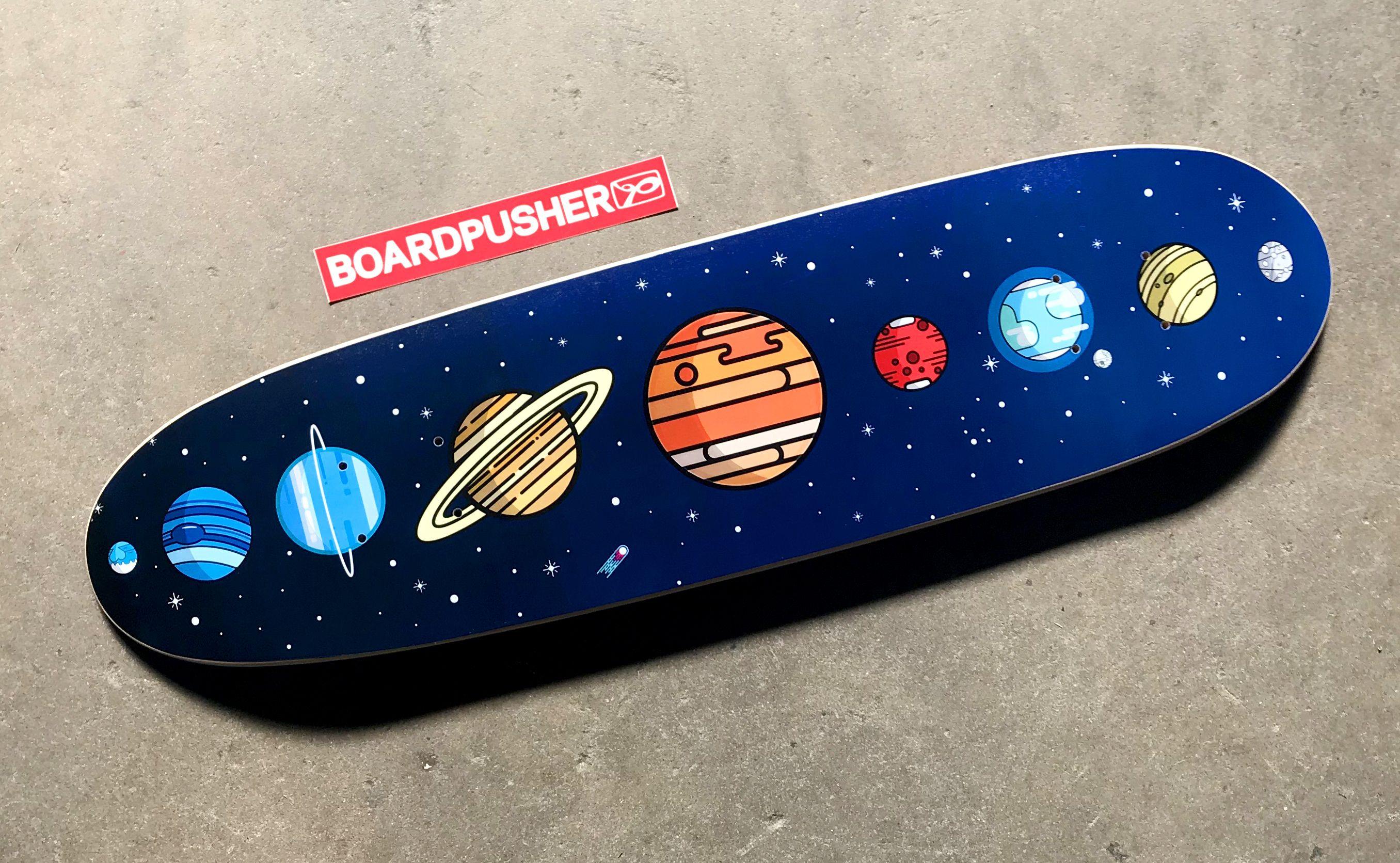 Featured Deck Of The Week Cosmos Cruiser By Tyler Ta Skateboard Deck Art Skateboard Art Design Skateboard Design