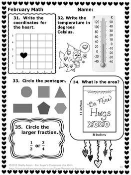 3rd Grade Valentines Day Math Worksheets, No Prep February