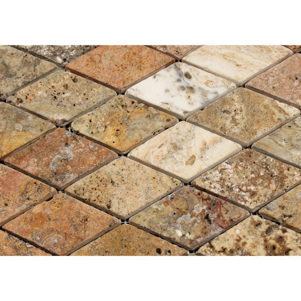 2 X 4 Tumbled Scabos Travertine Diamond Mosaic Tile Moldings