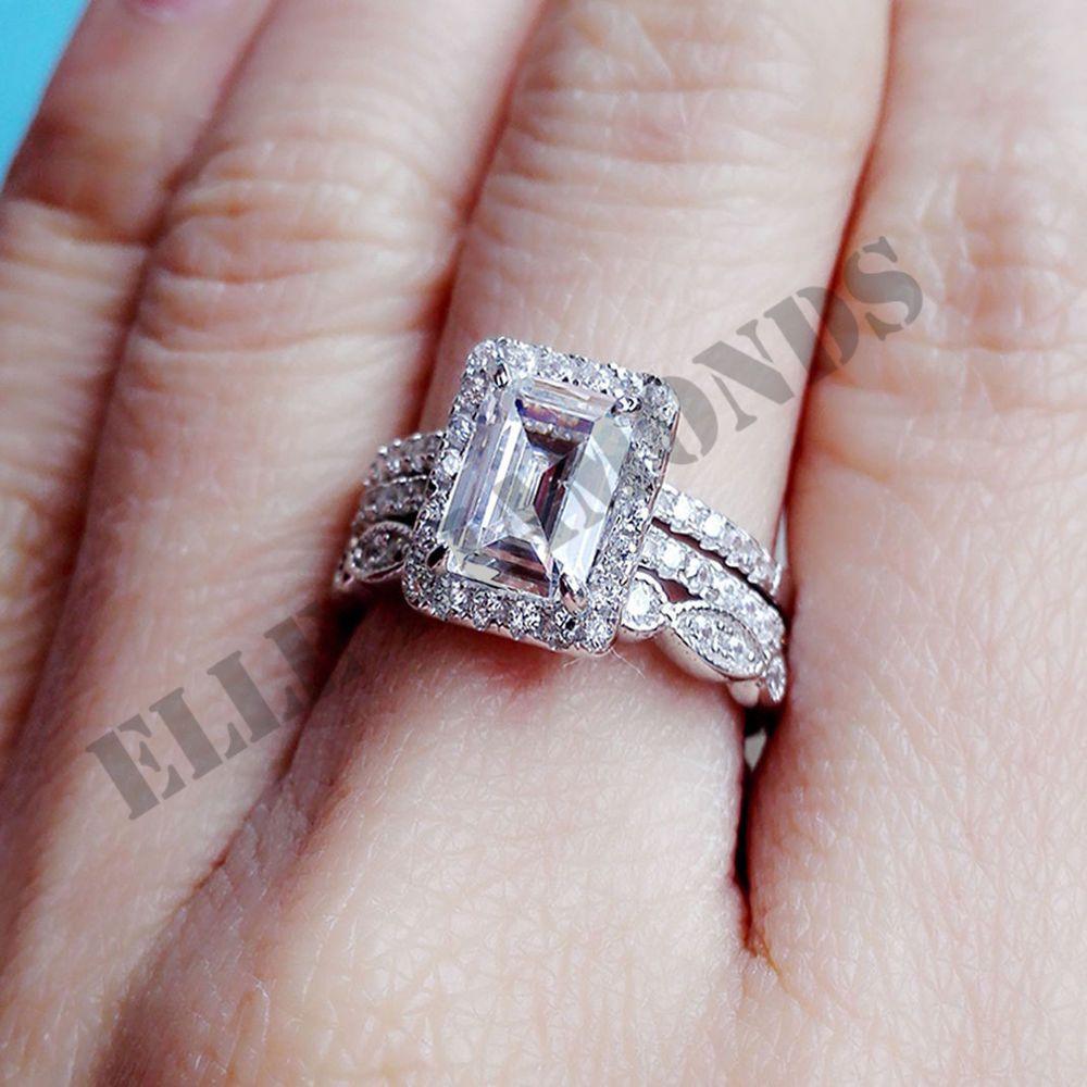 K white gold over radiant cut dvvs diamond wedding bridal ring